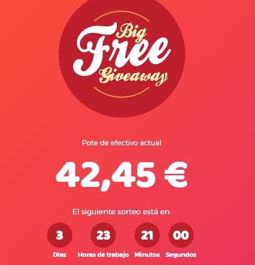 Big Free Giveaway sorteos sencillos para ganar dinero